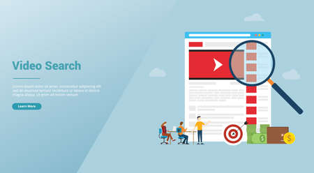 online video search concept technology with magnifying glass and business team searching for website template orn landing homepage with modern flat style - vector illustration 向量圖像