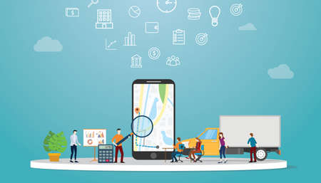 geolocation optimization search for best routes in maps app for business delivery service with modern flat style - vector illustration 向量圖像