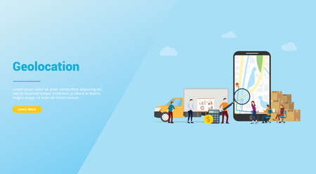 geolocation optimization search for best routes in maps app for business delivery service with modern flat style for website template or landing homepage - vector illustration Illustration