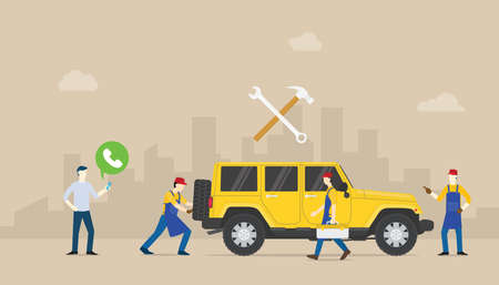 call car service auto mobile with team people of mechanical repair the car with modern flat style - vector illustration Illustration