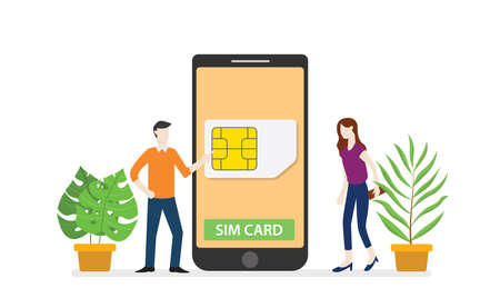 sim card or simcard mobile technology network with smartphone and people standing on smartphone with modern flat style - vector illustration