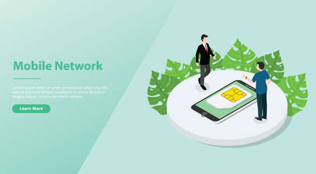 sim card or simcard mobile technology network with smartphone and people for website template or landing homepage with modern flat style isometric- vector illustration 版權商用圖片 - 128375029