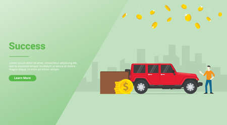 success rich man or successfull businessman with lux car and money with city as background with modern flat style for website template or landing homepage banner - vector illustration