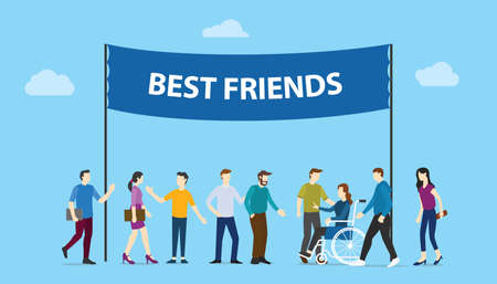 best friends big words text banner with community team people family together with modern flat style - vector illustration 向量圖像