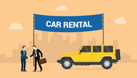 car rentals concept with two men deals share rentals cars with city background with modern flat style - vector illustration 版權商用圖片 - 129786744