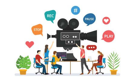 team video production for film making with people discussion together with modern flat style - vector illustration