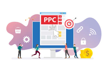 ppc pay per click technology advertising or advertisement concept with team people and clicks icon modern flat style - vector illustration