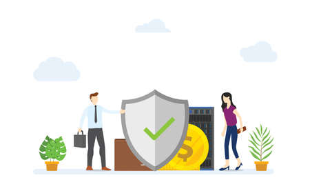 business protection concept with big shield protect with money and data to secure with modern flat style - vector illustration