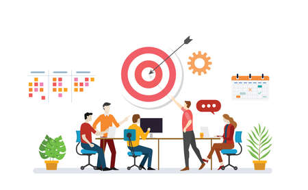 business plan target with team discussion to achieve target goals with to do list task and calendar icon - vector illustration