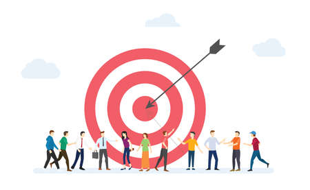 target customer business for marketing with dart and customers people crowd with modern flat style - vector illustration