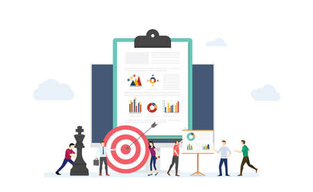 marketing strategy business concept with team people and some graph chart and goals target dart with modern flat style - vector illustration