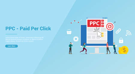 ppc paid or pay per click concept with people team for website template or banner landing homepage - vector illustration 版權商用圖片 - 130845972