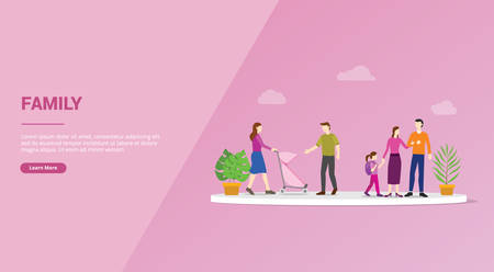 happy family member concept for website template or banner landing homepage - vector illustration Vettoriali