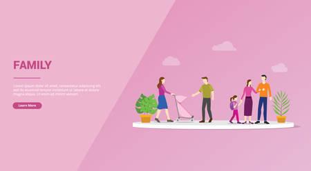 happy family member concept for website template or banner landing homepage - vector illustration Illustration