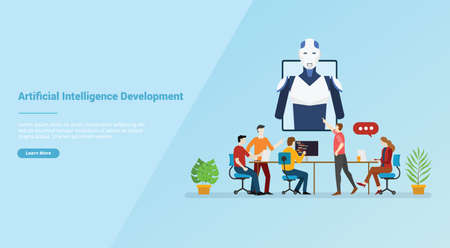 ai or artificial intelligence development for website template or banner landing homepage - vector illustration 版權商用圖片 - 130845980
