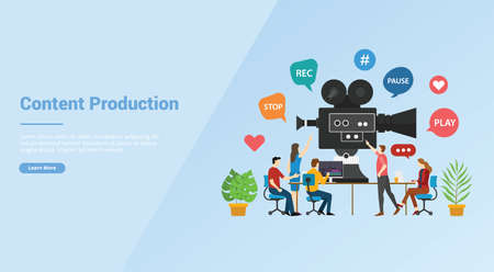 video or content production development concept for website template or banner landing homepage - vector illustration