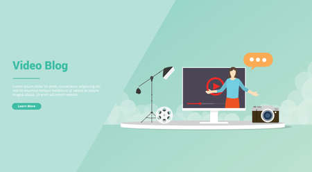 vlogger or video content production for website template or banner landing homepage - vector illustration 版權商用圖片 - 130845982