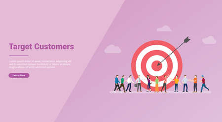 target customers with people and goals dart for website template or banner landing homepage - vector illustration