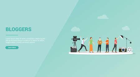 blogger job profession or video log vlogger for website template or banner landing homepage - vector illustration