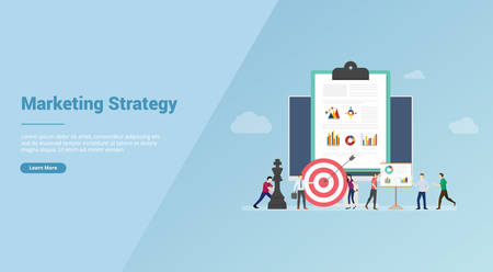 marketing strategy business team meeting for website template or banner landing homepage - vector illustration