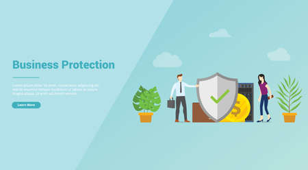 business protection security service for website template or banner landing homepage - vector illustration