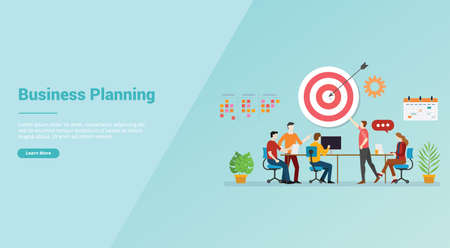 business planning strategy meeting team for website template or banner landing homepage - vector illustration