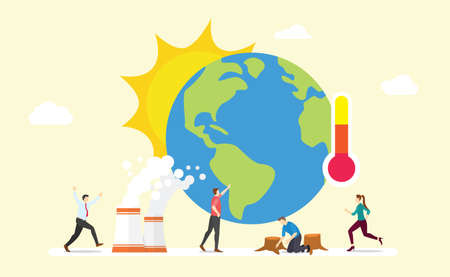 global warming earth concept with sun and thermometer with team people with modern flat style - vector illustration 版權商用圖片 - 131637849