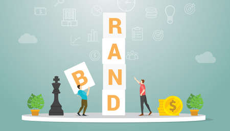 brand development with team people strategy with word block concept with modern flat style - vector illustration