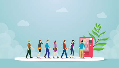 vending machine queue with many people concept with modern flat style - vector illustration
