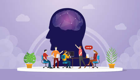 cyber mind development oriented with team developer with modern flat style - vector illustration  イラスト・ベクター素材