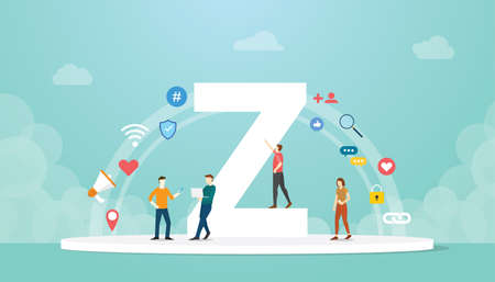 generation z concept people with team and people icons related with modern flat style - vector illustration 向量圖像