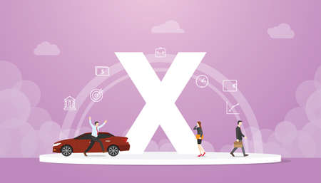 generation x concept people with team and people icons related with steady income and mature with modern flat style - vector illustration Vectores