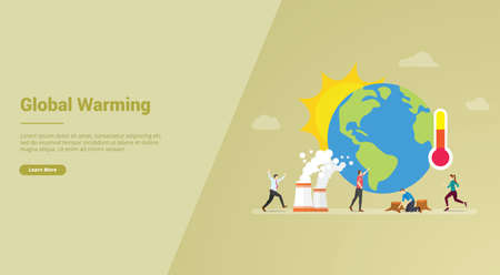 global warming concept with earth and sun for website template or landing homepage banner - vector illustration