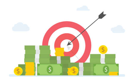 financial target goals with stack of cash money and gold coin - vector illustration