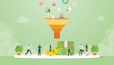 lead management strategy business concept with marketing sales funnel team people - vector illustration