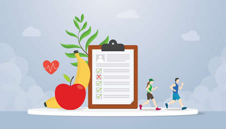 diet plan concept with people running health with healthy food fruit banana and apple - vector illustration Ilustrace