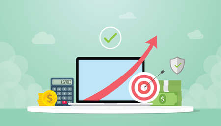income increase with increasing arrow up with goals and calculator and gold coin cash money - vector illustration Çizim