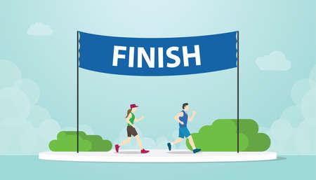 marathon run with men and woman running on finish banner with modern flat style - vector illustration 일러스트