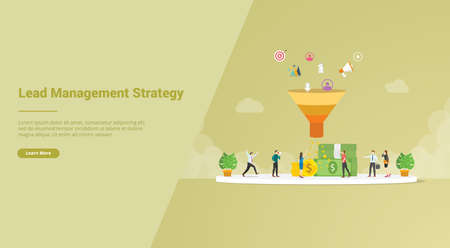 lead management strategy concept for website template or landing homepage banner - vector illustration