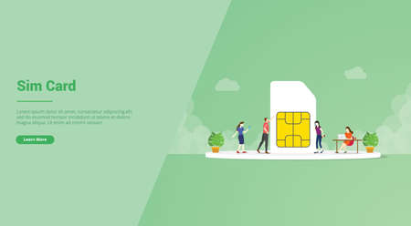 sim card or simcard with 5g network technology for website template or landing homepage banner - vector illustration