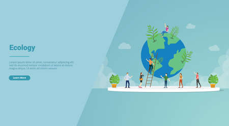 ecology world environment for website template or landing homepage - vector illustration Vettoriali