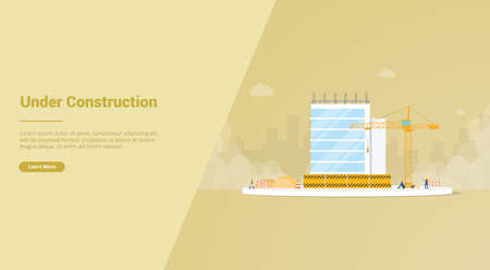 under construction development with unfinished building for website template or landing homepage - vector illustration Çizim