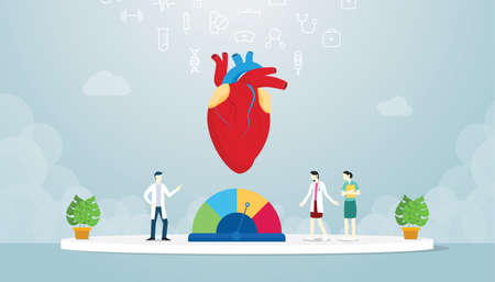 hypertension human heart with team doctor analyze disease with modern flat style - vector illustration Vecteurs