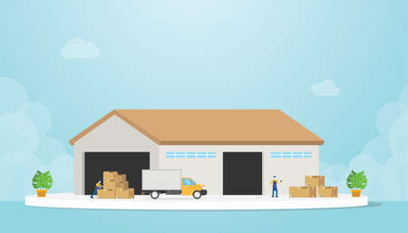 warehouse with truck and goods stack and warehouses employee with modern flat style - vector illustration