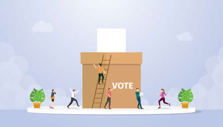 vote concept with people voter giving paper and box with modern flat style - vector illustration