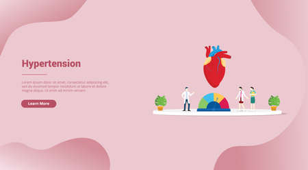 hypertension blood pressure concept for website template or landing homepage banner - vector illustration
