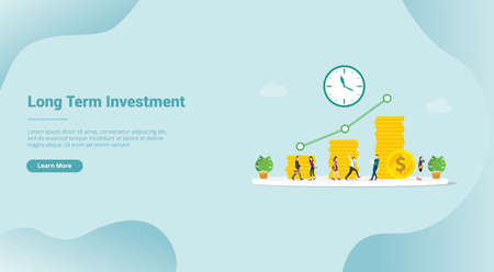 long term investment business concept profit for website template or landing homepage - vector illustration