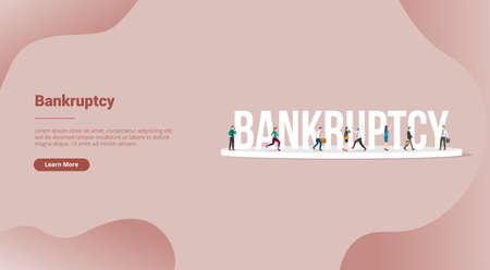 bankruptcy business concept for website template or landing homepage - vector illustration