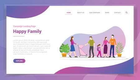 happy family for website template or landing homepage design campaign vector
