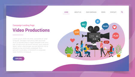 video production or development for website template or landing homepage design campaign vector